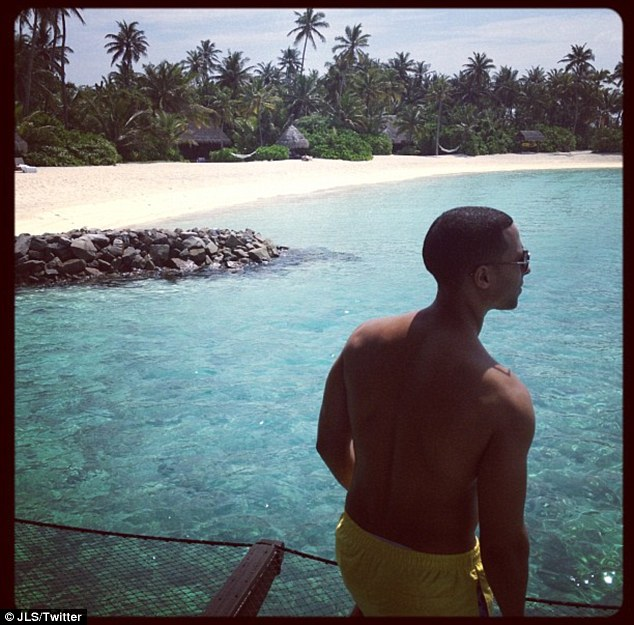 Paradise: JLS singer Marvin Humes was also enjoying the stunning views