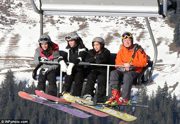 Flying high: Lourdes joined her pals on the lift before going down another run