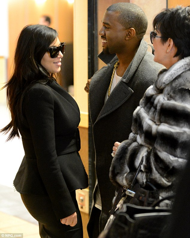 Baby mama: The couple were joined by Kim's mother and manager Kris Jenner as they jetted out to Las Vegas