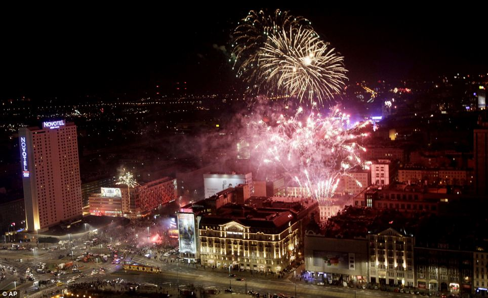 New Year celebrations in Warsaw, Poland as 2013 is welcomed with a bang