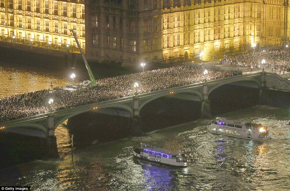 Busy: Thousands of people packed onto Westminster Bridge to watch the impressive firework show