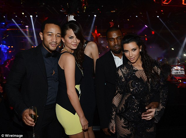 Good friends: Kim and Kanye chat with John Legend and Chrissy Teigen in the VIP area