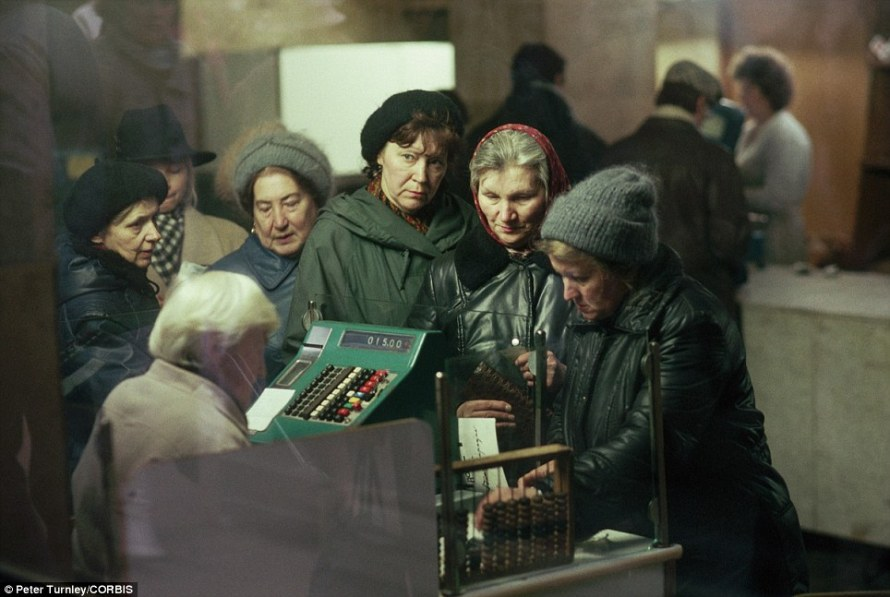 A real age of austerity: Shoppers line up at the check out stand of a store in Moscow in 1991 as the USSR neared collapse