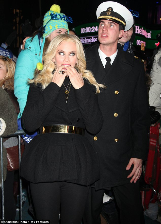 Bundled up: Jenny kept warm for the evening. She was in attendance at Dick Clark's Rockin New Year's Eve