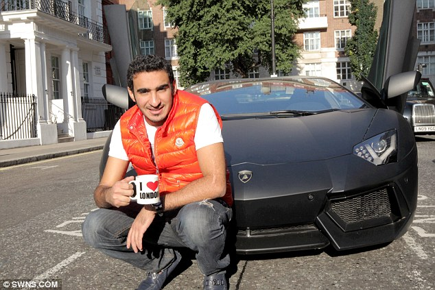 Cheers: Abdul Aziz Al Rashed, arrived in London for the summer in his £250,000 Lamborghini Aventador. During the film he was pulled over by police who seized the supercar for not having the correct insurance
