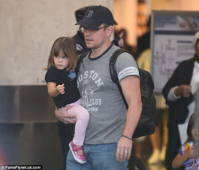 'Couldn't leave the kids': Matt Damon traveled with his young daughter Gia in Los Angeles on Thursday