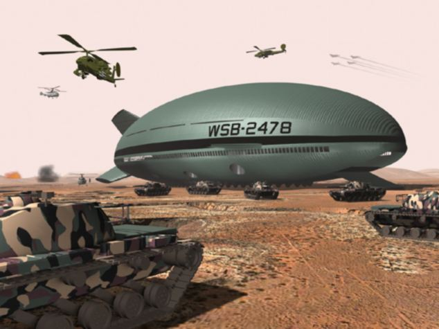 A concept of the airship on the battlefield, where it could be used to transport tanks and soldiers directly onto the front line