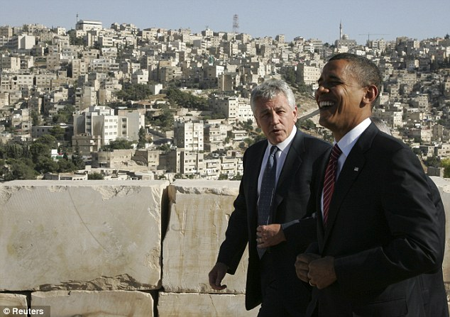 Friends: Obama, pictured with Hagel in Amman, Jordan in 2008, called the former senator 'a patriot'