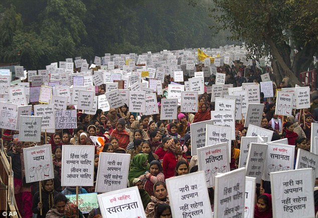 Uproar: Jyoti's rape and murder has sparked protests across the country with thousands of Indian women carrying placards calling for tougher rape laws
