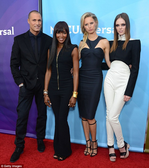 The cast: Naomi joined models Karolina Kurkova and Coco Rocha, as well as host Nigel Barker, to talk about the new show on Oxygen
