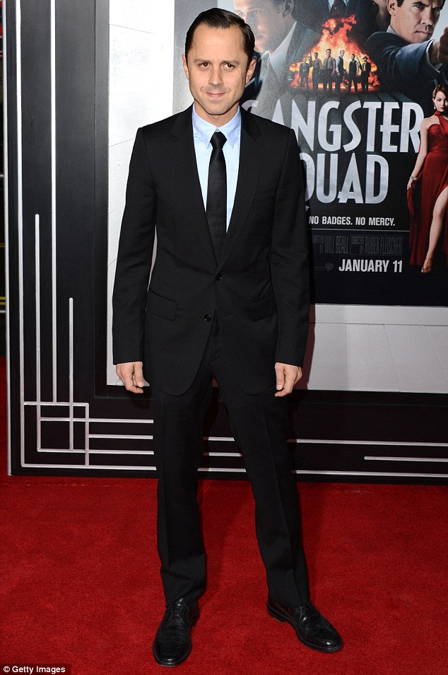 Slimline: Giovanni Ribisi played it safe in a black slimline suit, pale grey shirt and skinny tie