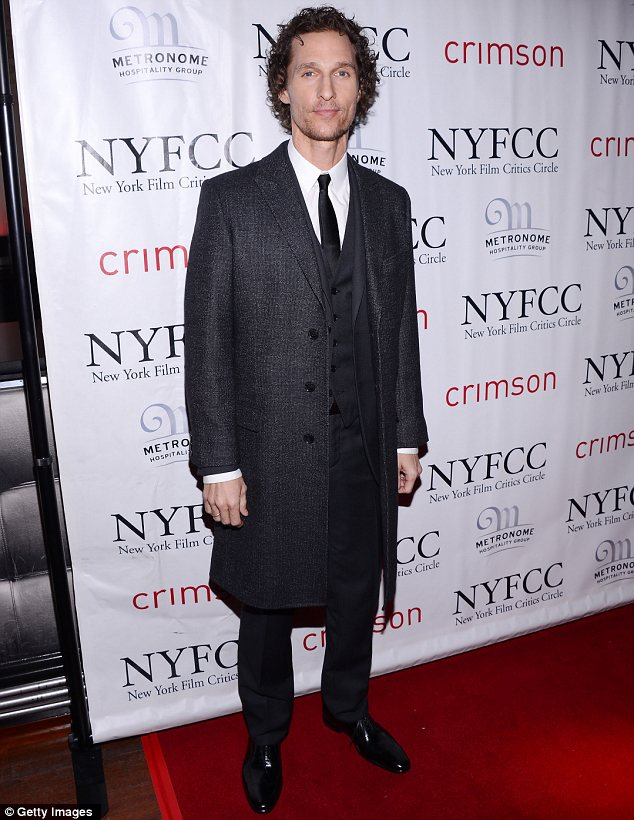 Slowly but surely: Matthew looked frail at the New York Film Critics Circle Awards on Monday