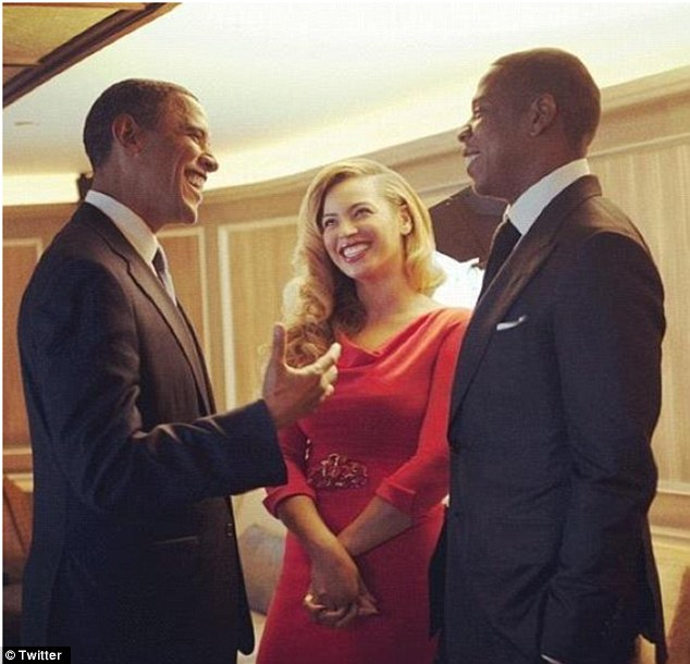 Musical backup: Beyonce and her rapper husband Jay-Z have both been long time supporters of the President