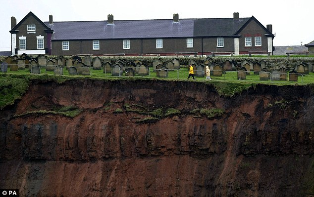 Historic: In 2000 St Mary's Church in Whitby experienced more landslides close to the edge of the graveyard