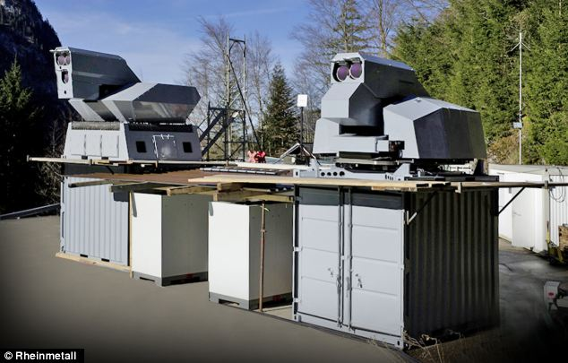 The system is currently mounted of a series of large metal containers. However, the firm is developing a smaller, portable version that could easily be transported to the battlefront.