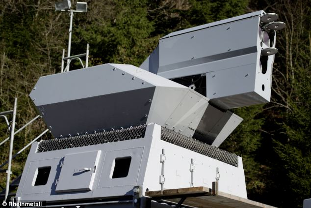 One of the two laser systems used in the test, which are powerful enough to cut a steel girder from 1,000m away