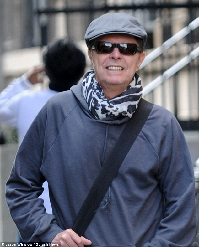 Reclusive: Superstar David Bowie seen near his New York apartment in October 2012