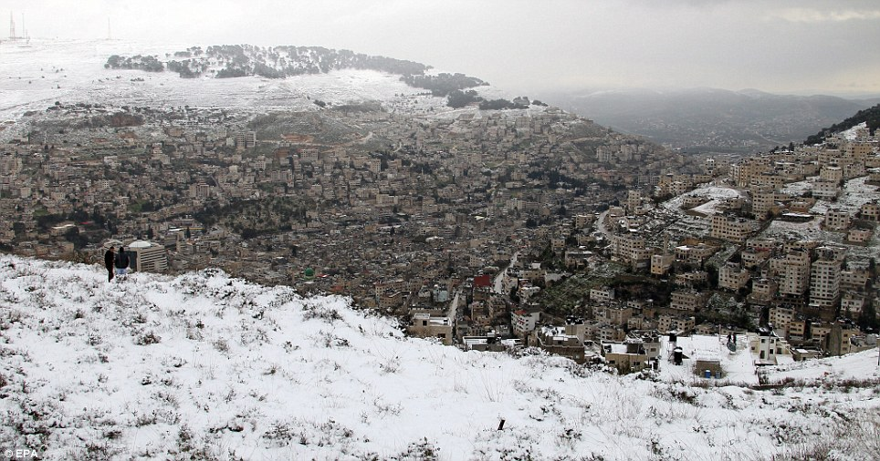 Snow-covered valleys made Jerusalem look more like the Alps than the Middle East