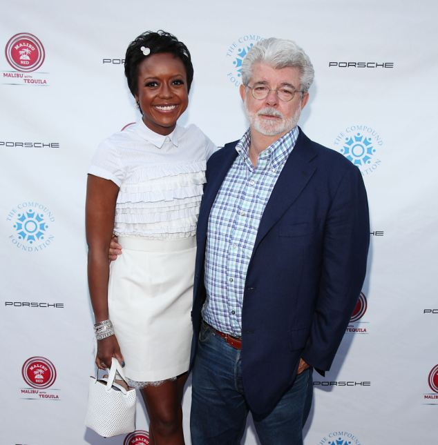 Interesting choice: Mellody Hobson, pictured here with husband-to-be George Lucas, will be walked down the aisle by politician/basketball great Bill Bradley