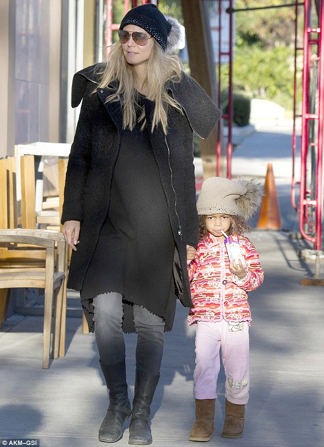 Simple star: Heidi donned casual clothing for the Saturday morning off