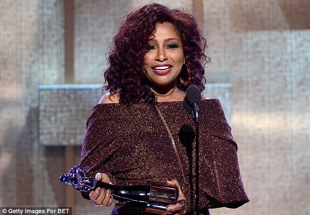 Picking up her gong: Chaka Khan was honoured on stage