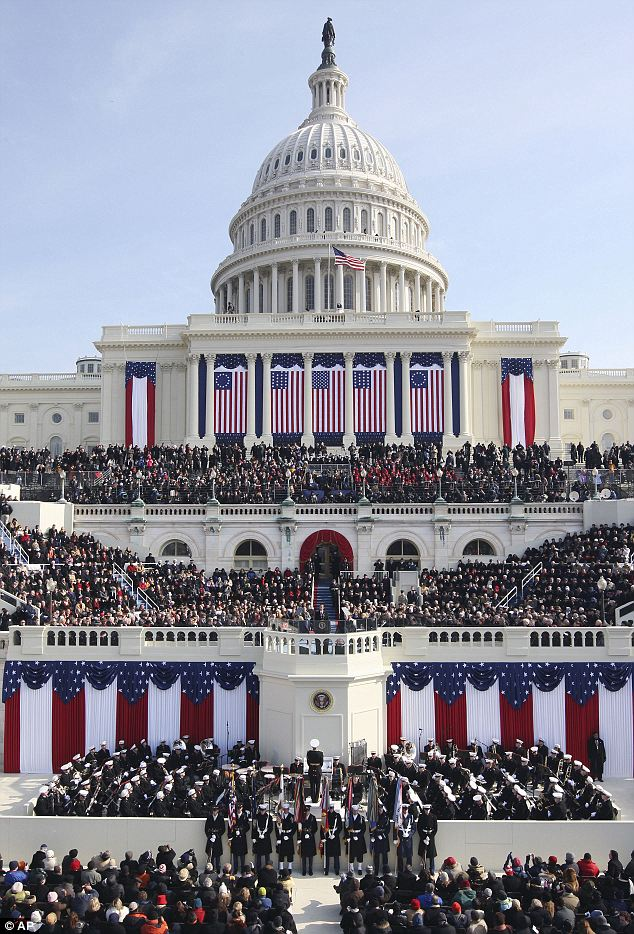 Four years ago: In this January 20, 2009 file photo, President Barack Obama gives his inaugural address at the U.S. Capitol in Washington
