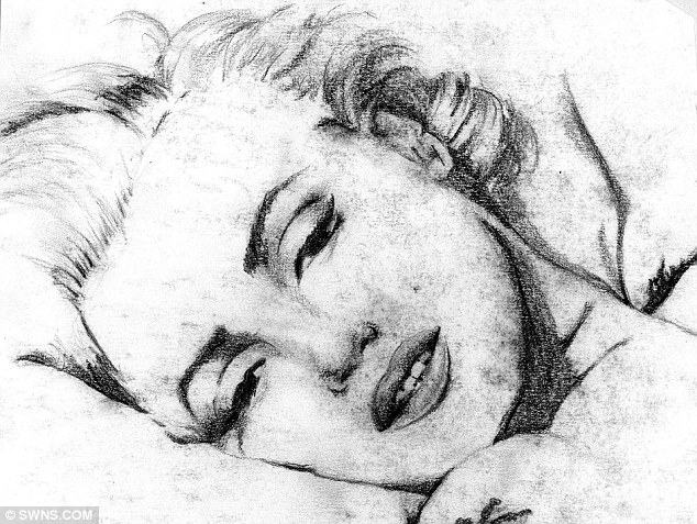 Sleeping beauty: Lee Hadwin has drawn several portraits of Marilyn Monroe but most of his work consists of abstract pieces
