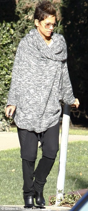 Back in her scruffs: Halle still looked incredible smart in her casual wear