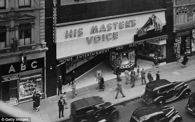Flagship: HMV's store on Oxford St pictured in 1939, offering 'home entertainment and electric housekeeping'
