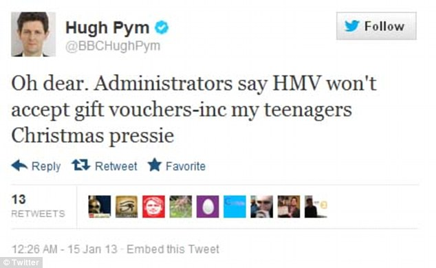 Disappointment: Journalist Hugh Pym was among the customers who had bought HMV gift cards