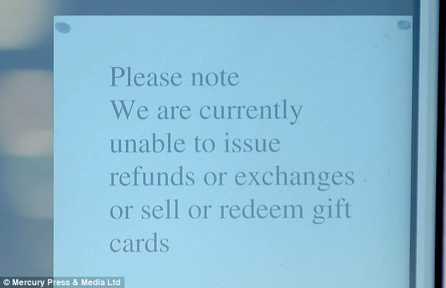 Warning: This sign in a Liverpool branch of HMV tells customers they could lose out