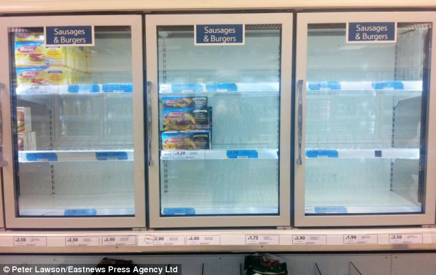 Empty shelves: Tesco had taken its frozen burgers off the shelves today