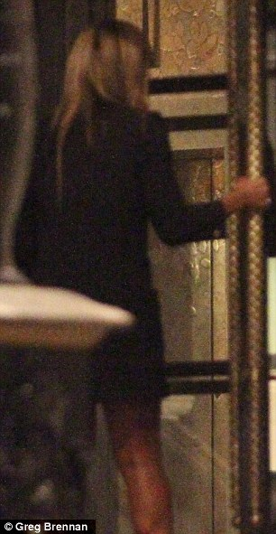 Just good friends: Mr Selfridge actor Jeremy Piven is seen waiting in the lobby of the Corinthia Hotel in London at 3am for singer Alexandra Burke