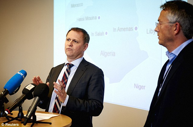 Unfolding: Lars Christian Bacher, director for international affairs at Norwegian oil firm Statoil, gives a news conference in Stavanger, Norway today