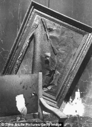 Burned wreckage inside Adolf Hitler's command bunker