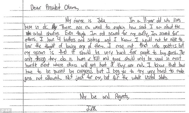 Calling for stricter gun laws: This letter to the president is from Julia, 11, of Washington, D.C.