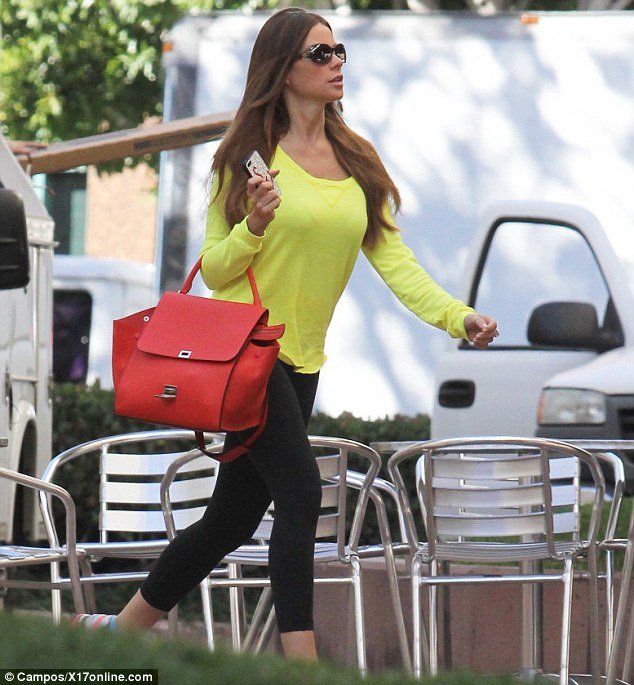 Making herself known: Sofia Vergara stepped out in Los Angeles on Thursday wearing a very eye-catching ensemble