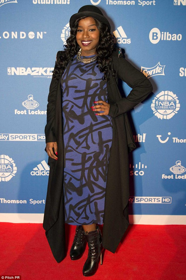 All the A listers: Mischa B attended the event in an unusual print dress and long coat