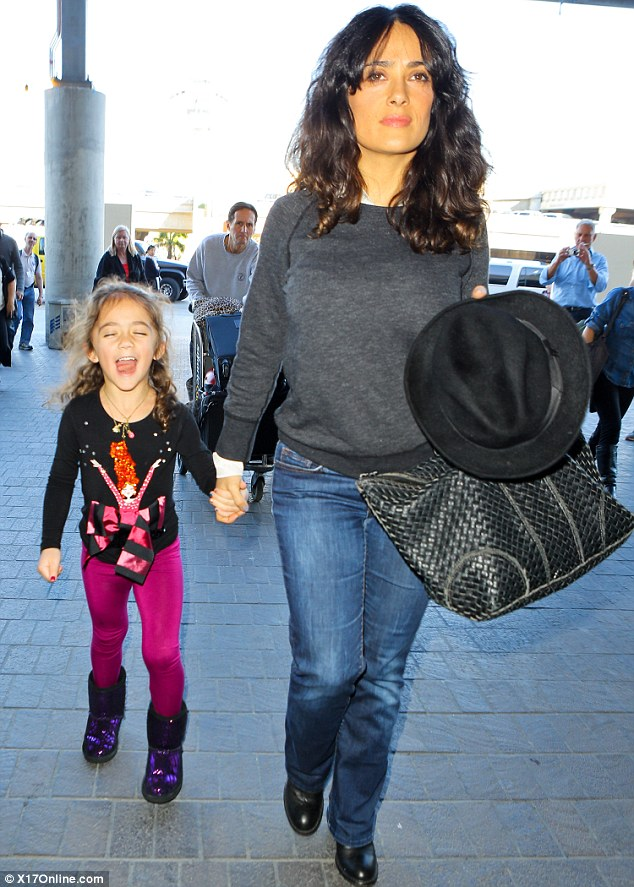 Mother and daughter trip: Salma Hayek arrived at LAX airport with her daughter Valentina on Thursday