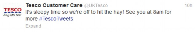 Bad taste? The controversy began at 11pm last night when the supermarket chain's customer care team tweeted this