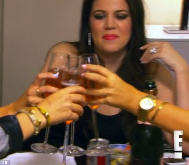 Cheers: Kim and Khloe decided to have a celebration with some of their DASH employees