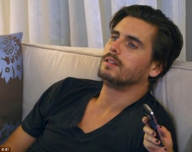 Not impressed: Scott Disick, who was in the next room, got more and more annoyed by their antics