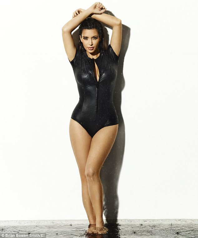 Kardashian kurves: In one photo Kim slips into a swimsuit to show off her famous figure