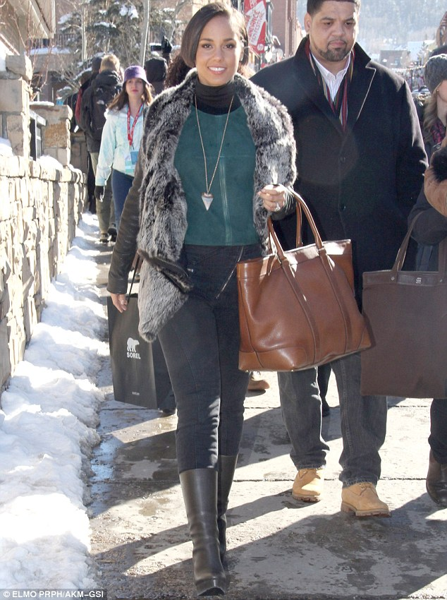 Bowled over: Alicia Keys was in a good mood at the Sundance Film Festival after it emerged she is to perform the national anthem at this year's Super Bowl