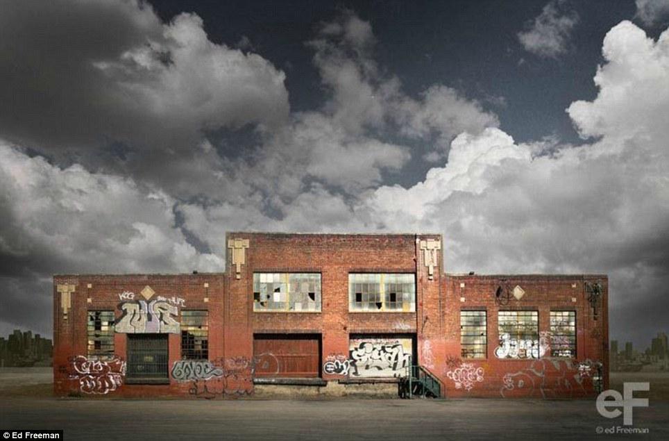 Упадок и возрождение: Этот заброшенный кирпичный дом покрыты граффити появится преображается, когда сочетается с штормовые облака
