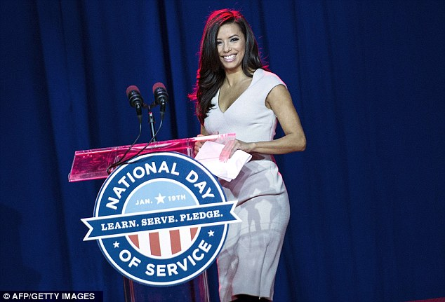 Support: Presidential Inaugural Committee Co-Chair Eva Longoria arrives to speak at a service summit on the National Mall