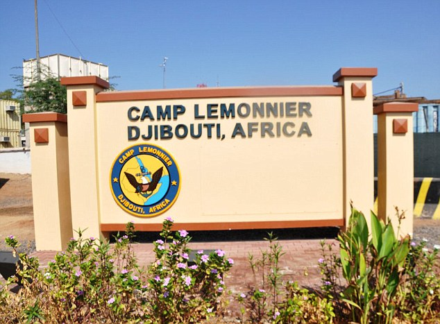 Detained: Mr Hashi was believed to be held for a time at America's military base in Djibouti, Camp Lemonnier (pictured)