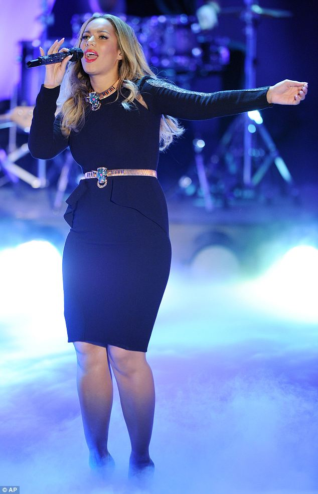 Belted: The belt, which matched her necklace, made the singer's hips look larger than they perhaps are