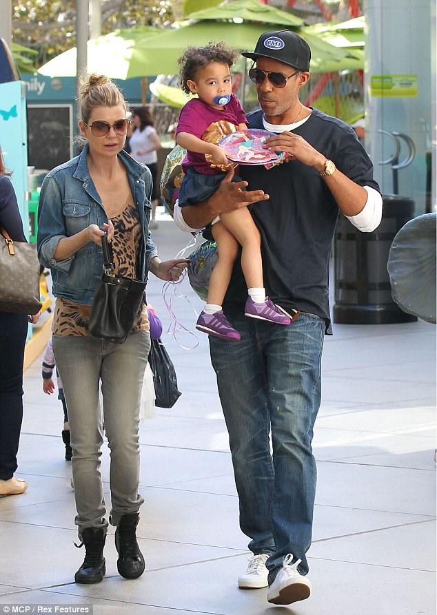 Beautiful balloons: Ellen Pompeo enjoyed a day at the mall with her husband Chris Ivery and daughter Stella on Saturday, where she treated her tot to some floating party decor