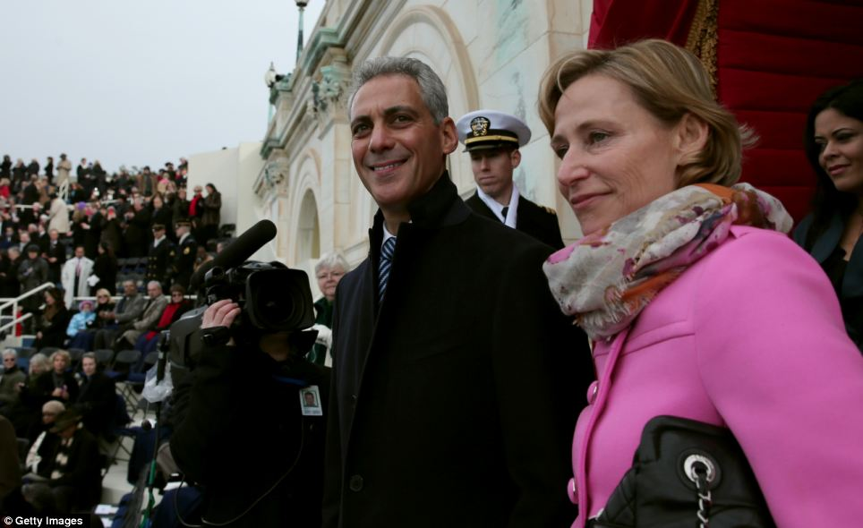 Happy to be there: Chicago Mayor and Obama's former chief of staff Rahm Emanuel and his wife Amy Rule arrive at the event